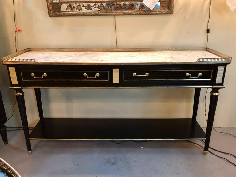 A Maison Jansen Style French Ebonized Bronze Mounted Marble Top Console Or Tv Stand