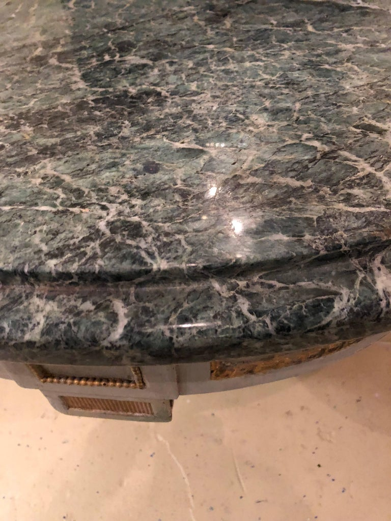 Pair of Hollywood Regency Painted and Marble Demilune Consoles For Sale 1