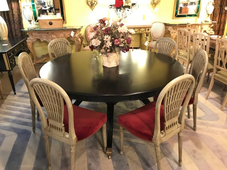 Monumental Hollywood Regency Custom-Made Ebony Circular Extending Dining Table For Sale 5