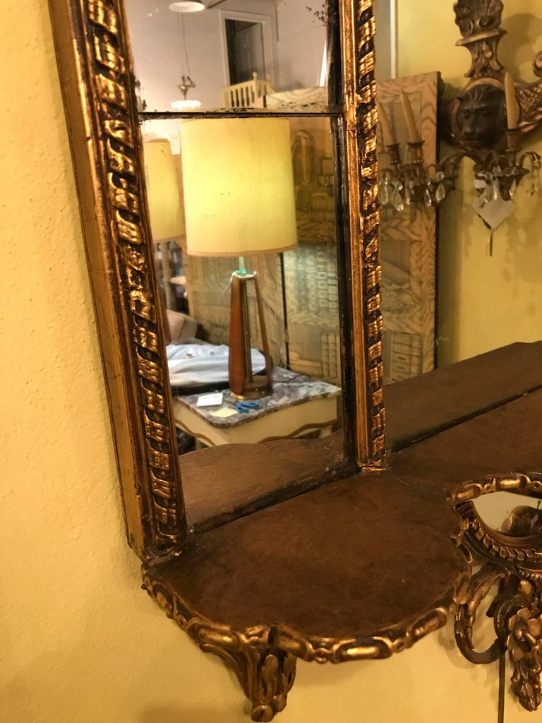 Pair of George III Style Giltwood and Composite Shelved Wall / Console Mirrors For Sale 3