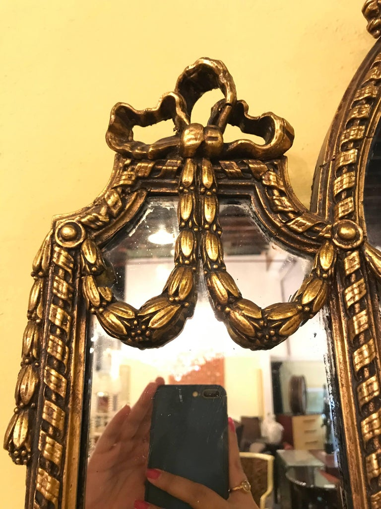Pair of George III Style Giltwood and Composite Shelved Wall / Console Mirrors For Sale 4