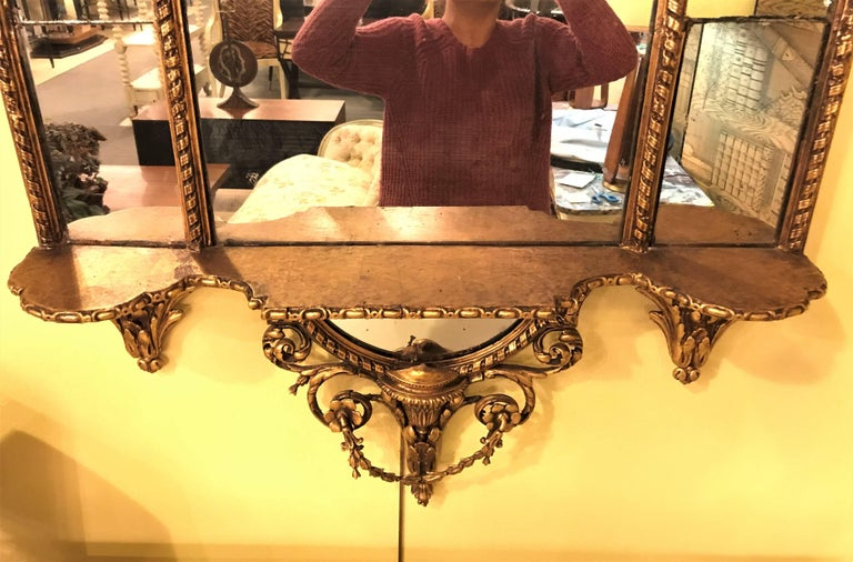 French Pair of George III Style Giltwood and Composite Shelved Wall / Console Mirrors For Sale