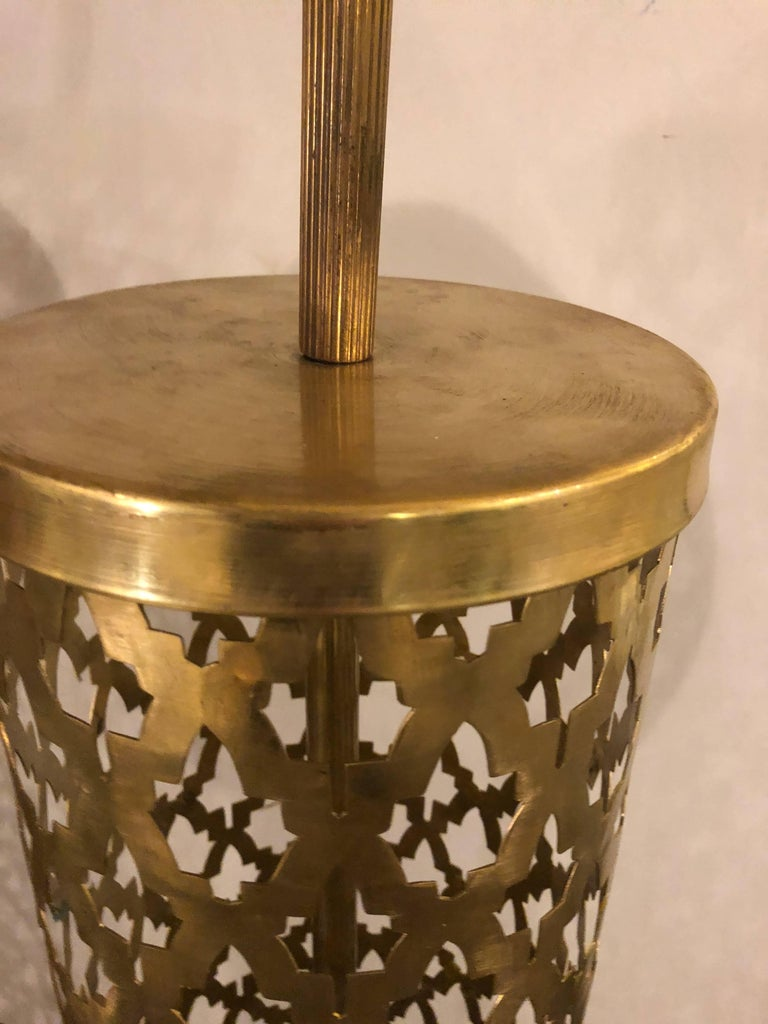 Pair Of Hand Hammered Pierced Brass Standing Lamps At 1stdibs