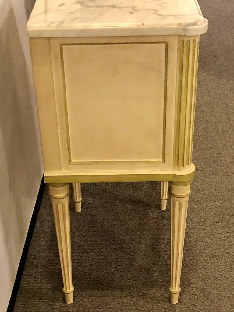20th Century Pair of Louis XVI Style Paint Decorated Marble Top End Tables or Nightstands For Sale