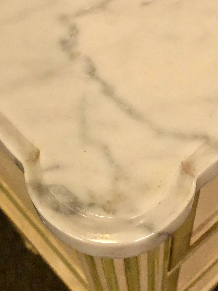 Pair of Louis XVI Style Paint Decorated Marble Top End Tables or Nightstands For Sale 1
