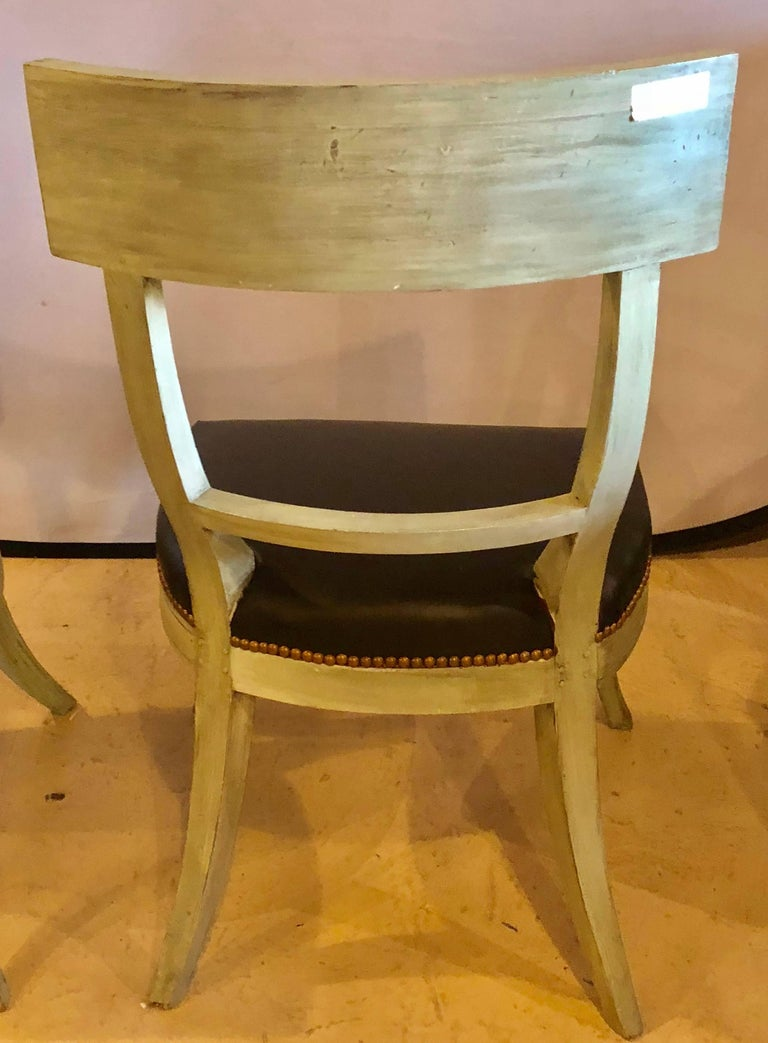 Pair of Hollywood Regency Painted with Bronze Mounts Side or Office Chairs For Sale 2