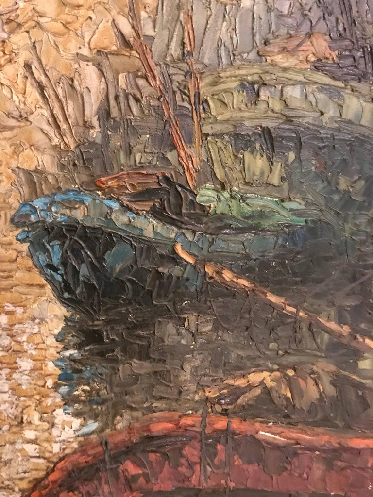 Abstract Oil on Canvas Painting of Boats on a Canal Signed In Good Condition For Sale In Stamford, CT