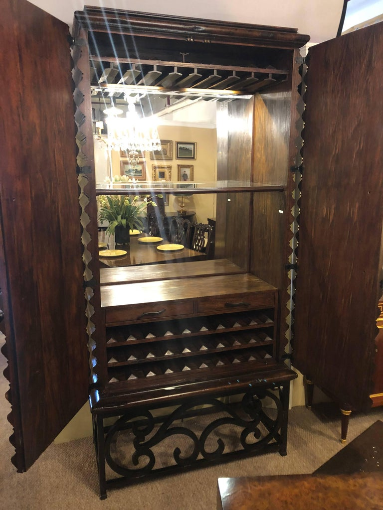 Adirondack Monumental Jonathan Charles Art Deco Custom Quality Bar or Wine Cabinet For Sale