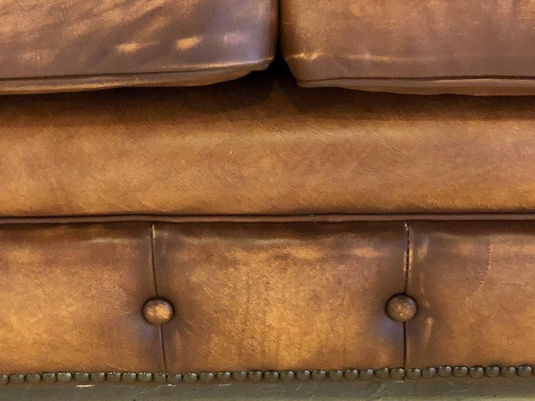 English Georgian Style Worn Leather Chesterfield Sofa 1