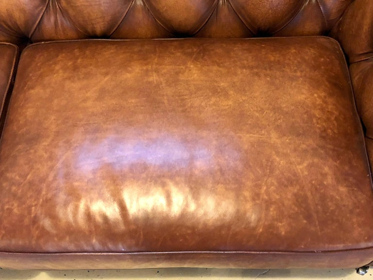 English Georgian Style Worn Leather Chesterfield Sofa 5