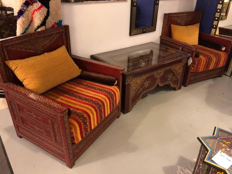 Three piece moroccan berber tribal hand painted living - Moroccan living room furniture for sale ...