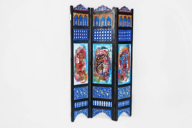 Moorish Hand-Painted Moroccan Room Divider or Folding Screen For Sale