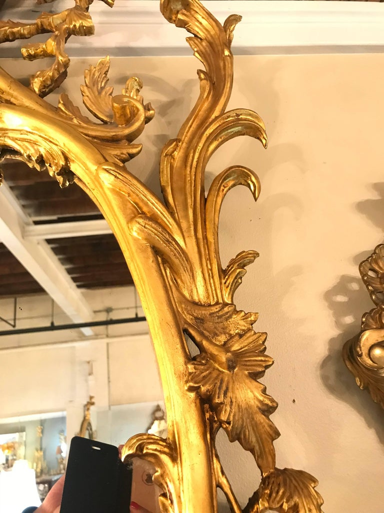 Pair of George II Style Giltwood Wall or Console Mirrors with Phoenix Carvings For Sale 1