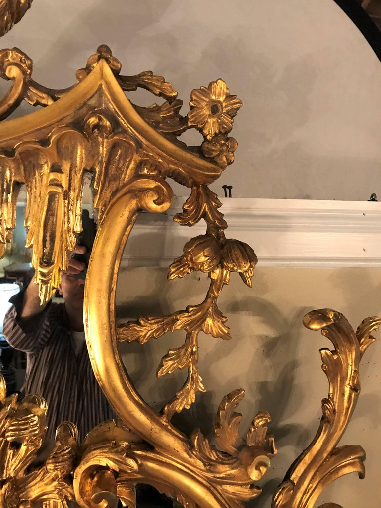 Mid-20th Century Pair of George II Style Giltwood Wall or Console Mirrors with Phoenix Carvings For Sale