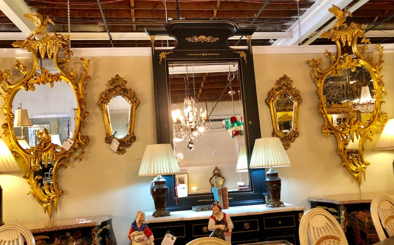 Pair of George II Style Giltwood Wall or Console Mirrors with Phoenix Carvings For Sale 5