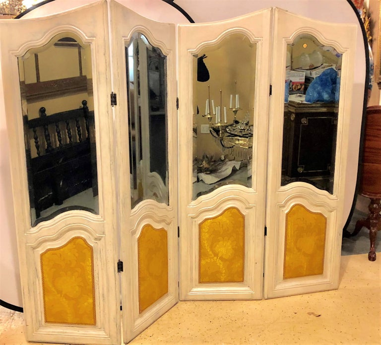 20th Century Hollywood Regency Four-Panel Painted Mirror/Room Divider or Folding Screen For Sale