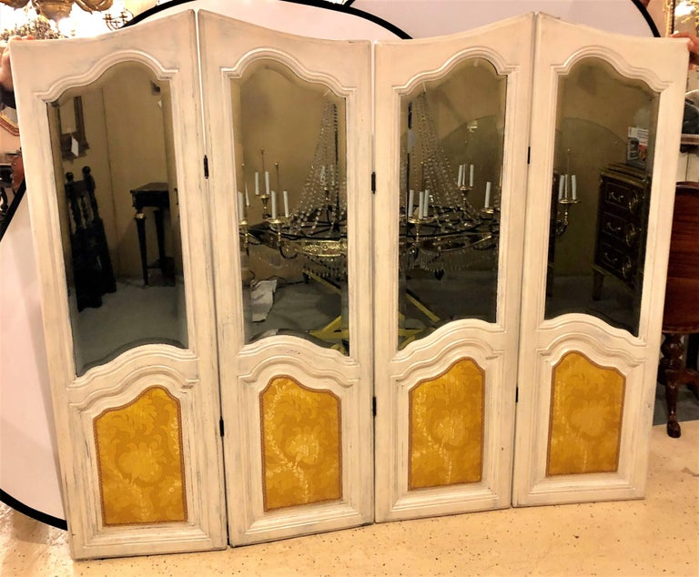 Hollywood Regency Four-Panel Painted Mirror/Room Divider or Folding Screen For Sale 2