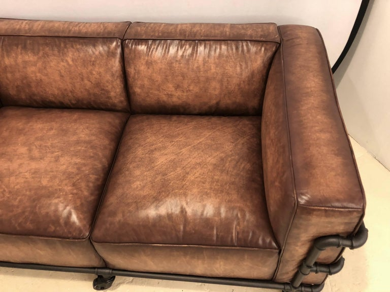 Pair Of Industrial Style Sofas On Metal Frame Piping With