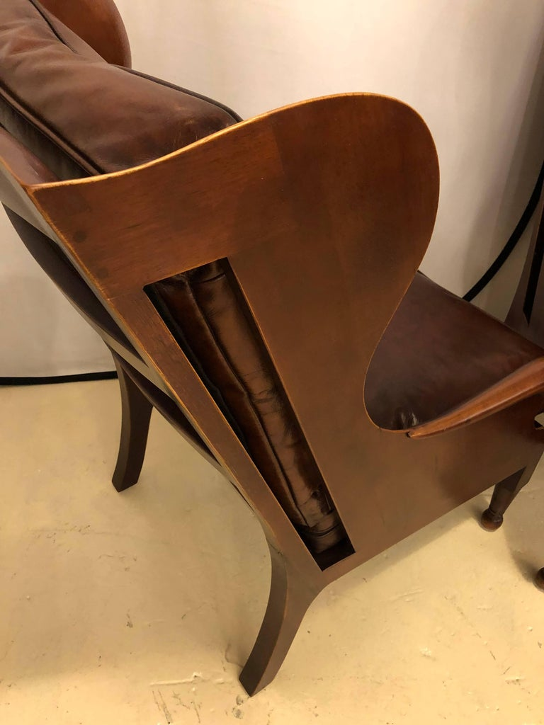 Pair of Fine Leather Lounge or Bergere Wingback Chairs In Good Condition For Sale In Stamford, CT