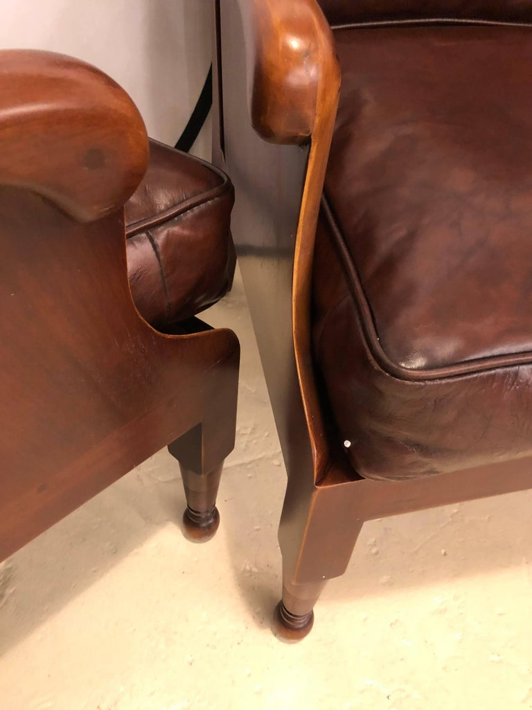 20th Century Pair of Fine Leather Lounge or Bergere Wingback Chairs For Sale