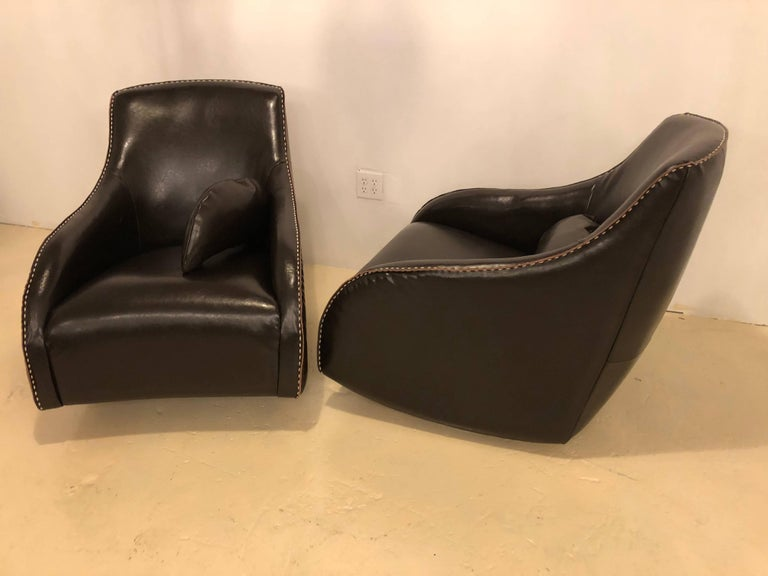 Pair of Fine Leather Rocking Chairs in the Mid-Century Modern Style For Sale 1