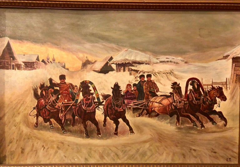 Oil on canvas of a Russian racing scene in the snow by Ivan Tschernikow. This Sleigh ride oil on canvas was the former property of Fashion icon Tommy Hilfiger. This work has been professionally framed.