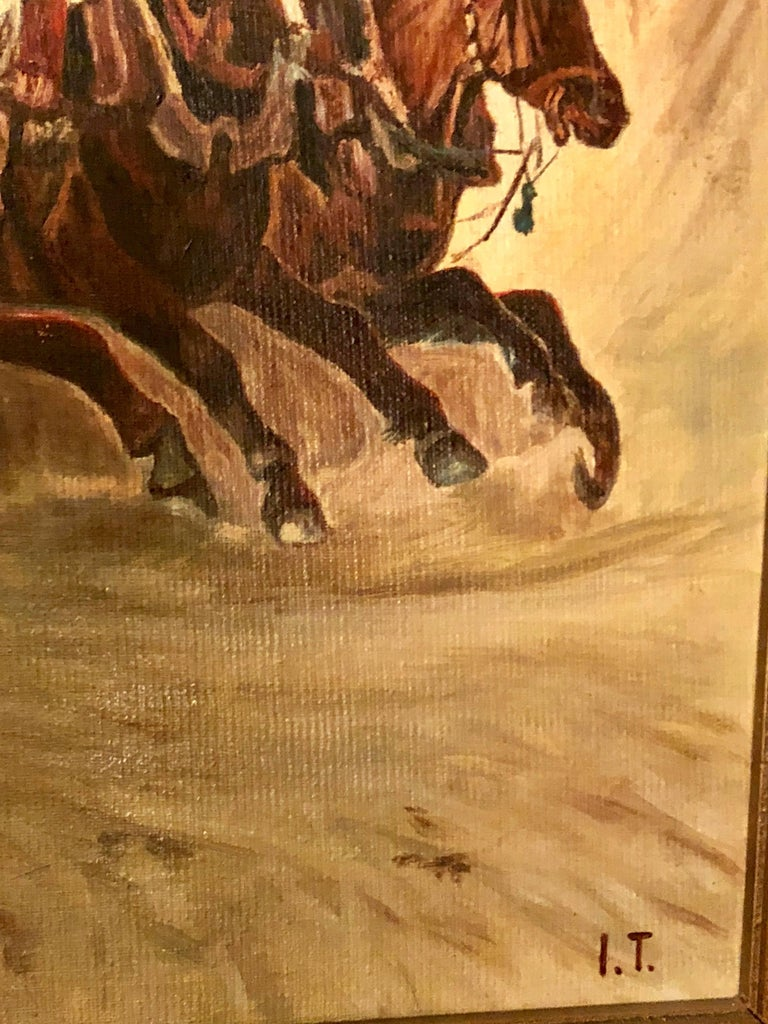 Neoclassical Oil on Canvas of a Russian Racing Scene in the Snow by Ivan Tschernikow For Sale
