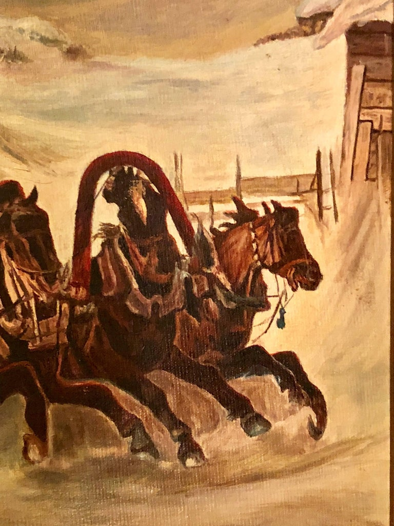 Oil on Canvas of a Russian Racing Scene in the Snow by Ivan Tschernikow In Good Condition For Sale In Stamford, CT
