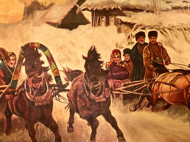 20th Century Oil on Canvas of a Russian Racing Scene in the Snow by Ivan Tschernikow For Sale
