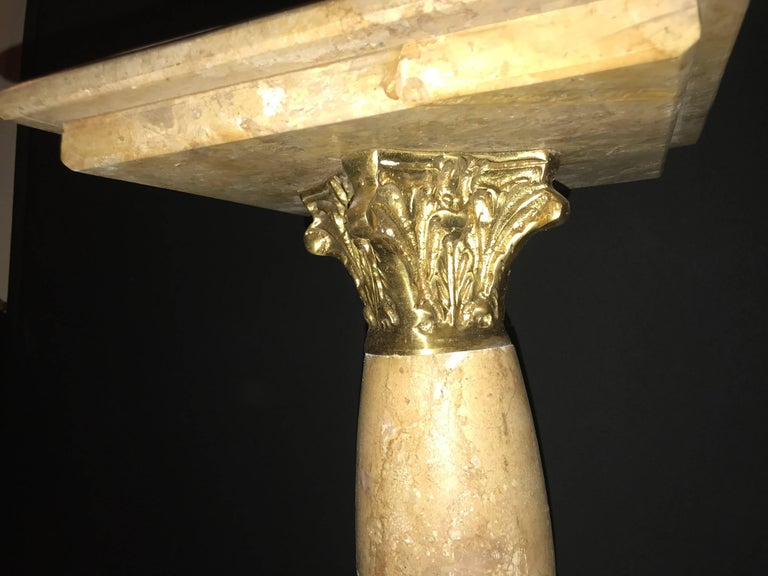 Mid-20th Century Pair of Antique Pedestals or Columns Marble with Bronze Mounts For Sale