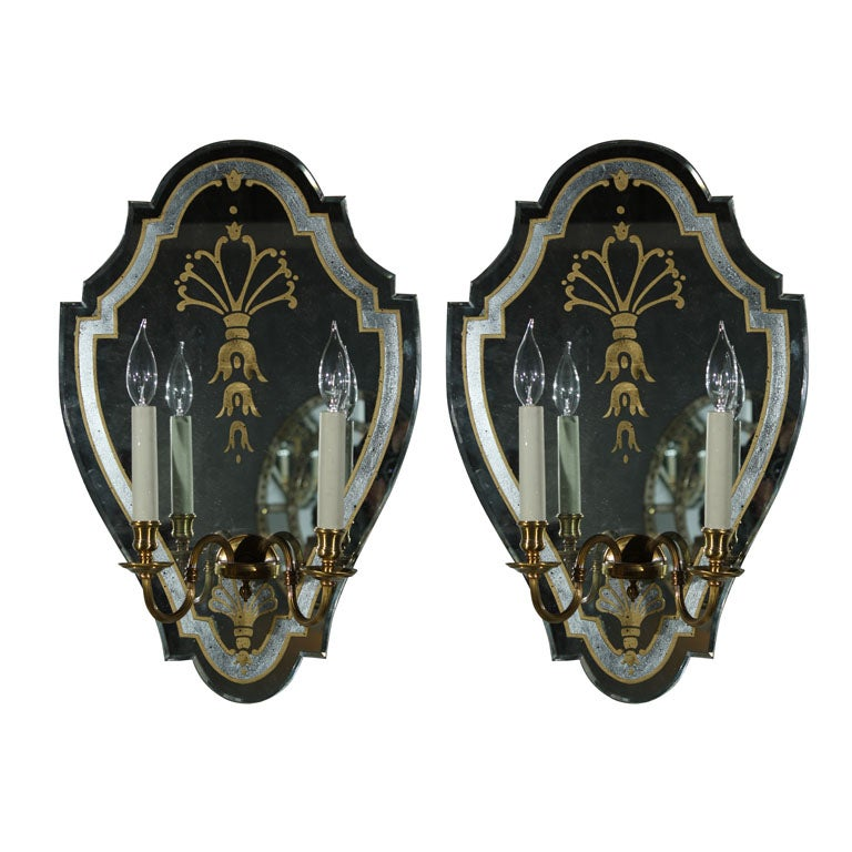 Set Of 4 Verre Eglomise Mirrored Sconces Manner Maison
