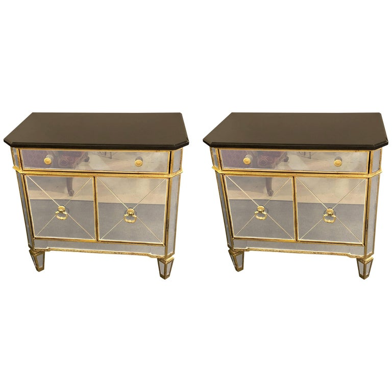 Hollywood Regency Style Pair of Mirrored Marble-Top Nightstands or End Tables