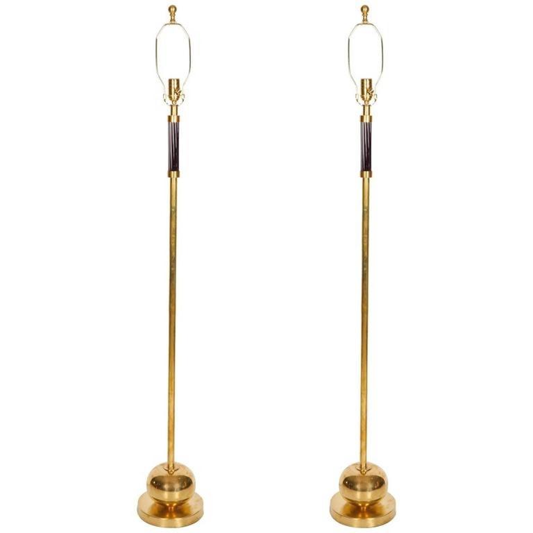 Pair of french brass floor lamps circa 1970s at 1stdibs for Jill alberts jewelry highland park