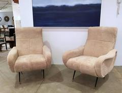 Pair of Mid Century Italian Chairs, Shearling and Black Metal, circa 1950s