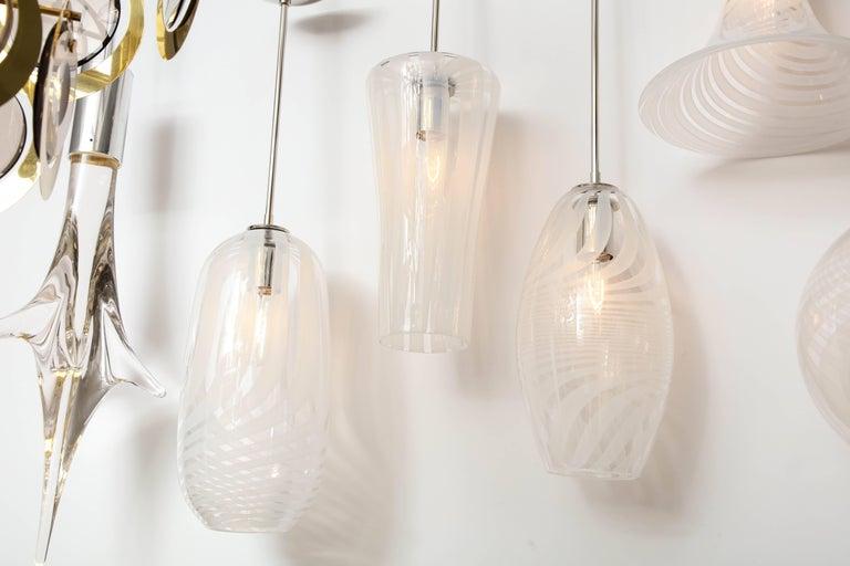 Mid-Century Modern Moshe Bursuker Swirls Glass Pendants, 2018 For Sale