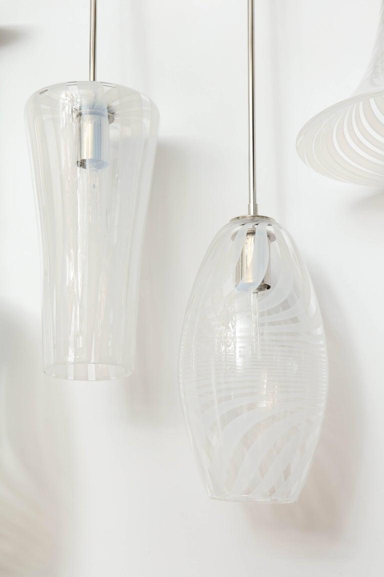 Stainless Steel Moshe Bursuker Swirls Glass Pendants, 2018 For Sale