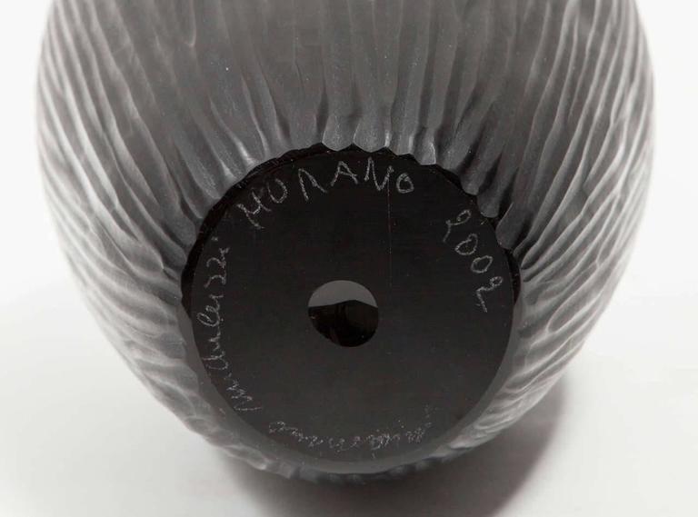 Carved Massimo Micheluzzi Black Murano Glass Vase, Hand Blown and Battuto Cut, 2002 For Sale