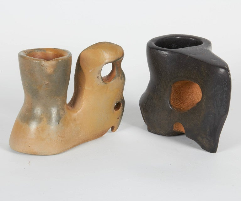 American Richard Hirsch Ceramic Primal Cups with Stands, 2014 For Sale