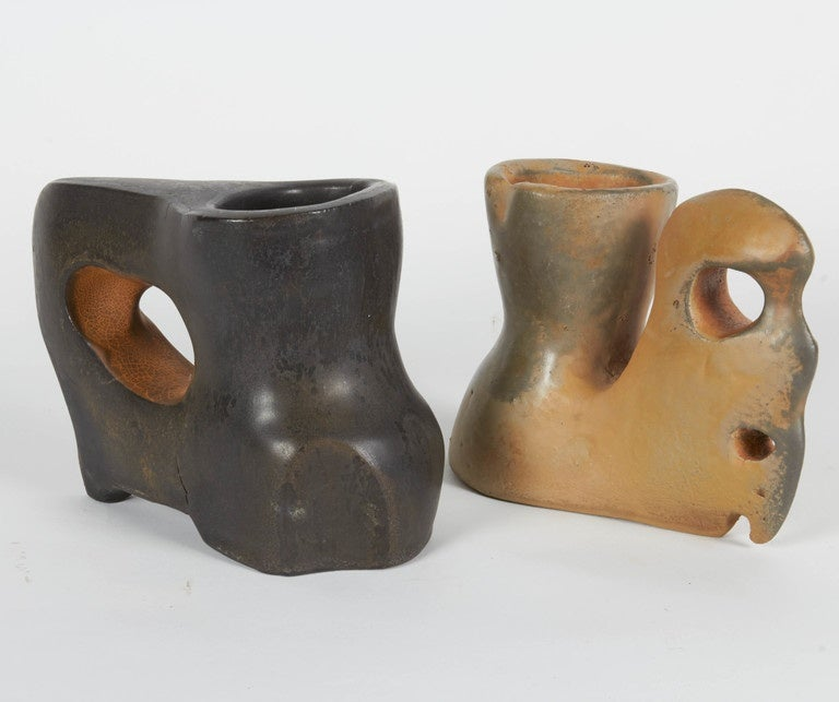 Richard Hirsch Ceramic Primal Cups with Stands, 2014 In Excellent Condition For Sale In New York, NY