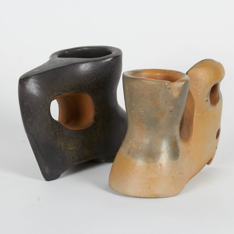 Contemporary Richard Hirsch Ceramic Primal Cups with Stands, 2014 For Sale