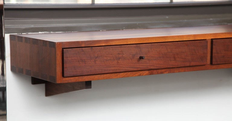 American Craftsman Don Dean Studio Walnut Wall Shelf with Drawers, circa 1960s For Sale