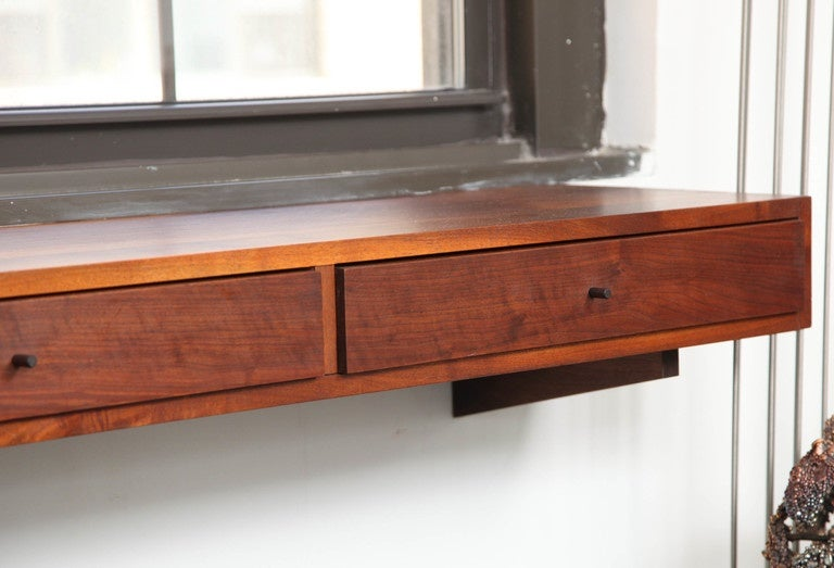 Don Dean Studio Walnut Wall Shelf with Drawers, circa 1960s For Sale 2