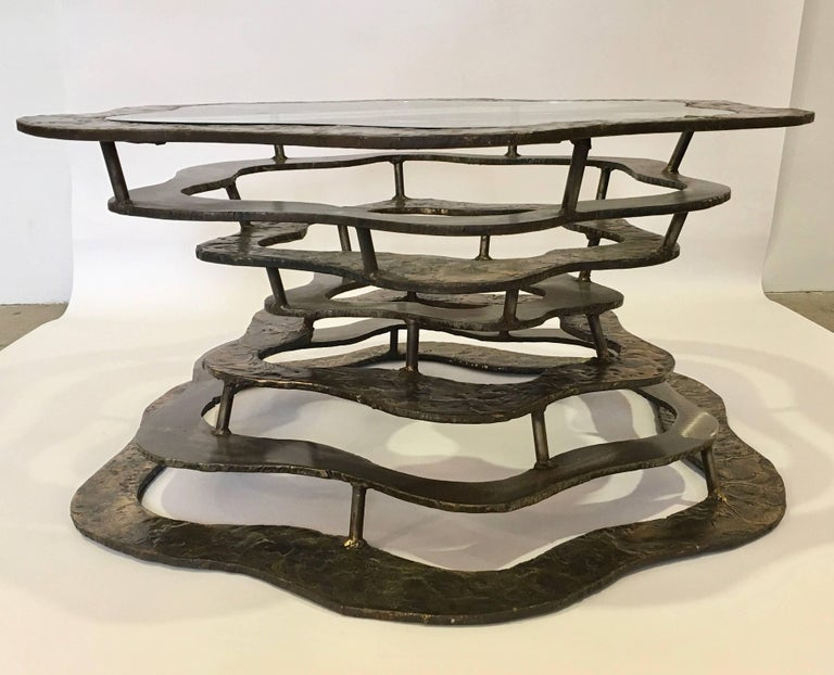 Mid-Century Modern Silas Seandel Volcano Bronze and Steel Coffee Table with Glass, 1977 For Sale