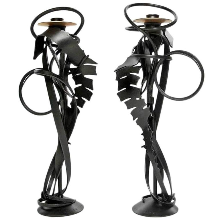 "Pair of Albert Paley ""Double Shear Candleholders"", Steel and Bronze, 2014 For Sale"