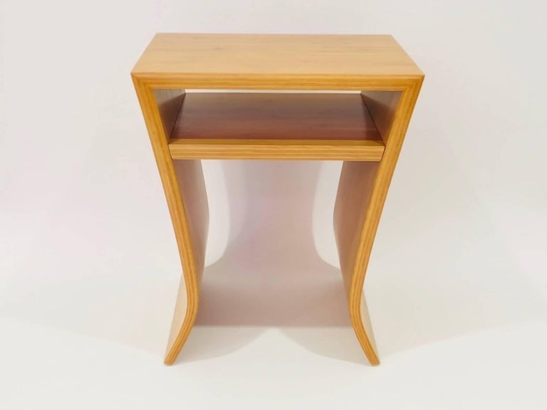 American David Ebner Bamboo End Table with Shelf, 2005 For Sale