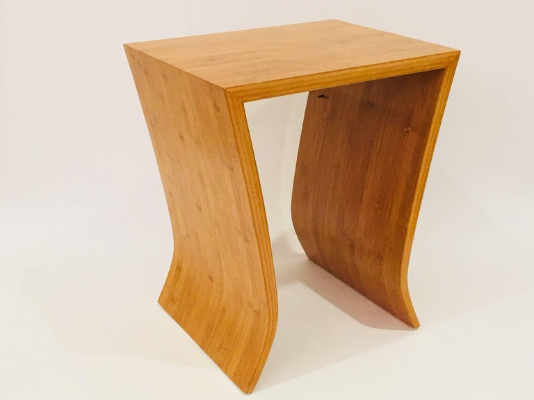 David Ebner Bamboo End Table with Shelf, 2005 For Sale 1