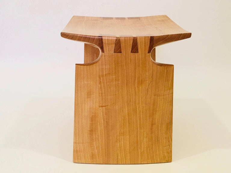 American Craftsman David N. Ebner Anigre Renwick Stool, 2017 For Sale