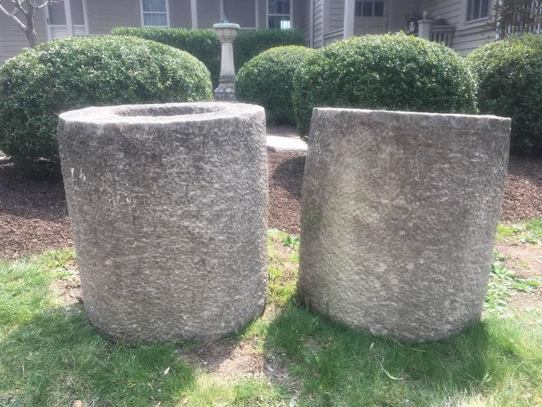 20th Century Pair of French Carved Stone Cylindrical Planters For Sale