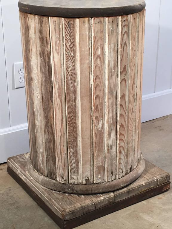 Round Wood Columns : Round fluted wooden pedestal with scraped paint for sale