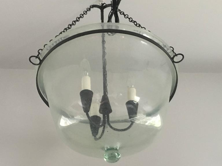 Hand Crafted French Handblown Glass Melon Cloche Pendant Light For